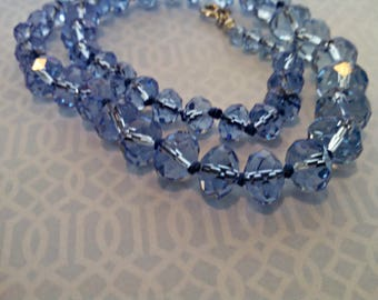 Vintage Necklace, Aquamarine Blue Glass Beads, Adjustable, Hand Knotted, Mid Century Style, Circa 1970s, Includes Gift Box