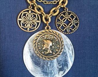 Crystal Selenite Necklace // Selenite Goddess Jewelry // Goddess Pendant // White Selenite Stone // Greek Goddess Necklace // Gift For Her