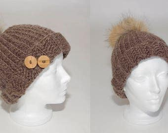 Knitted hat with pompom, knitted cap for woman, knitted cap for man, winter, hat with buttons, winter toque, toque, knitted cap, woolen hat,