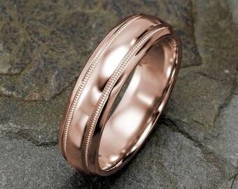 Rose Gold Mens Wedding Band, Polished Mens Wedding Ring, Domed Mens Ring, Grooved Band, 6mm Mens Wedding Ring, Custom Laser Engraved