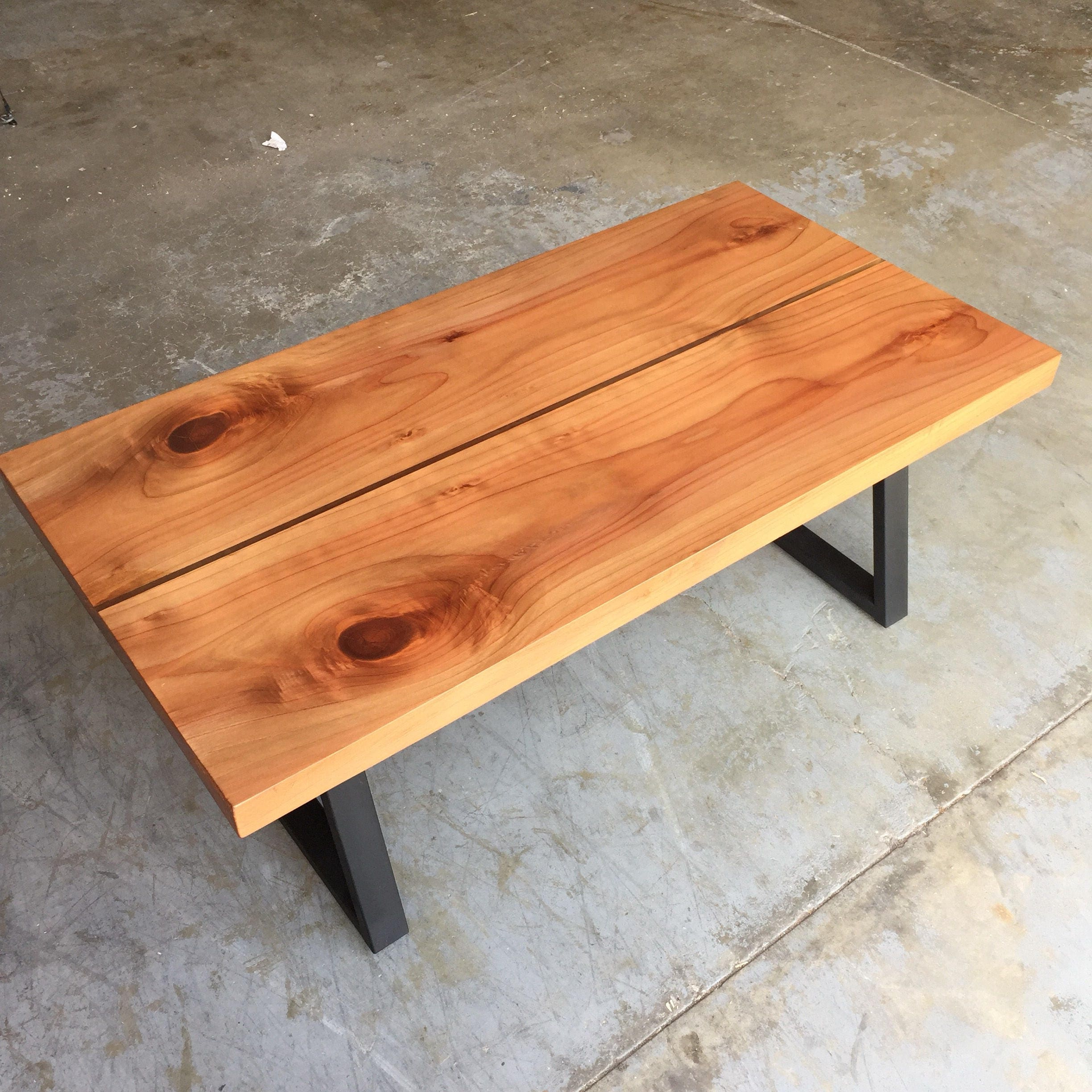 Redwood And Resin Moat Coffee Table