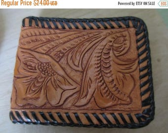 SUMMER SALE Vintage Retro Mexican Hand Tooled Leather Hand Stitched Leather Wallet