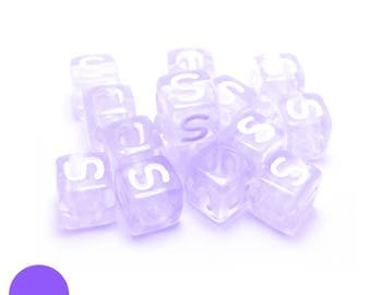 6mm square Pearl letter S with translucent purple