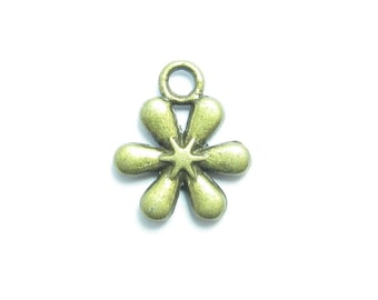 10 charms flowers BRONZE 13x12mm