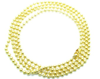 CHAIN 2.2 mm gold beads NECKLACE 70cm