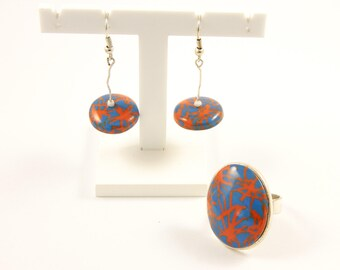 """Set earrings and ring Jungle - """"Flying saucer"""" collection"""