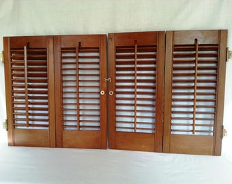 Vintage Pair Interior Wooden Shutters 2 Panels Each Connected W/Hinges  Louvered Window Hardware Kitchen
