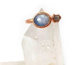 Raw Stone Ring, Moonstone and Herkimer Diamond Ring, Raw Crystal, Electroformed Ring, Rose Gold, White Gemstone, Healing, June Birthstone