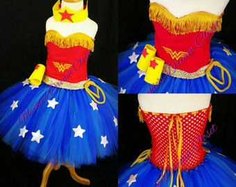 Baby girl toddler wonder woman tutu dress Halloween costume arm and headpiece set embroidery sleeveless red blue white stars newborn 1-10 y