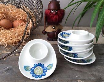 Vintage Figgjo Tor Viking Egg Cups x6 Figgjo Flint Norway Turi design
