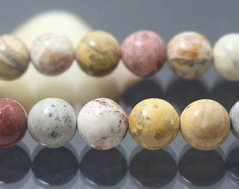 Natural Sky Eye Jasper, Smooth Round Beads, 15 Inch Full Strand ( 6 mm 8mm 10mm )