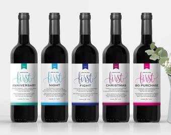 Milestone Wine Labels, Wedding Gift, Engagement Gift, Wedding Wine Labels, Bridal Shower Gift, Milestones, PDF Instant Download #BPB326_2