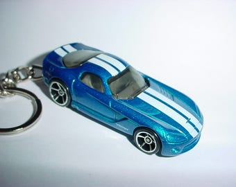 3D 2006 Dodge Viper custom keychain by Brian Thornton keyring key chain finished in blue/white color trim diecast metal body