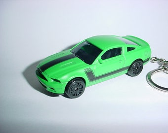 3D Ford Mustang GT Boss 302 custom keychain by Brian Thornton keyring key chain mean green/black finish 435hp backpack bling