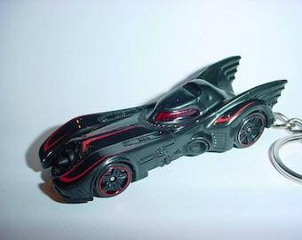 3D Batmobile custom keychain by Brian Thornton keyring key chain finished flat black color trim diecast metal body Batman DC comics