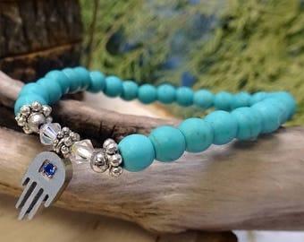 Turquoise Magnesite Beaded Bracelet withSilver Hamsa Charm
