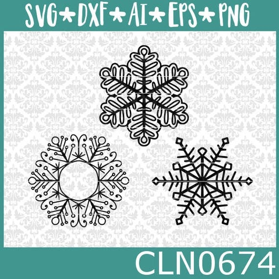 CLN0674 Winter Christmas snowflakes 3 pack bundle hand drawn SVG DXF Ai EPs vector instant download commercial cut file cricut silhouette
