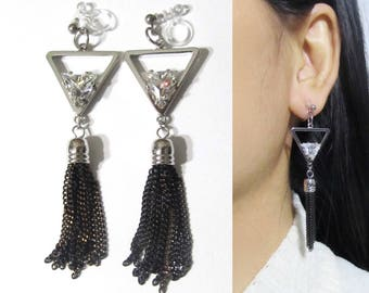 Triangle Crystal Clip On Earrings |35B| Geometric Clip-ons Silver Dangle Clip on Earrings Long Clip Earrings Black Chain Tassel clip earring