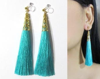 Teal Green Tassel Clip-On Earrings |35Q| Long Dangle Clip Earring, Gold Filigree Clip-ons, Boho Wedding Bridal Clip On Non Pierced Earring