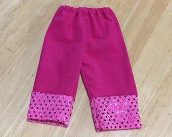 Hot pink corduroy pants 14.5 inch doll pants sparkle trim
