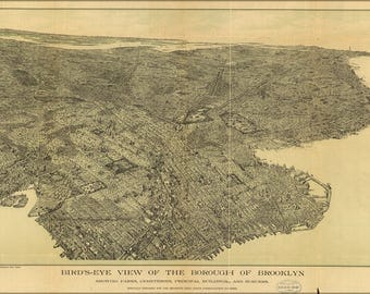 Poster, Many Sizes Available; Birdseye View Map Of Brooklyn New York City 1897