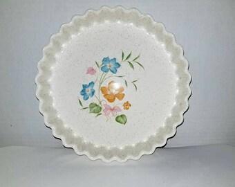 Vintage Quiche Dish,Stoneware Quiche Pan,Floral Pie Dish,Quiche Pan,Tart Pan,Tart Dish,Speckled,Shabby Chic,Floral,Flowers,Quiche Dish