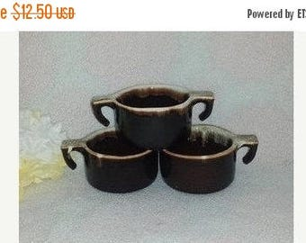 Vintage Pottery Brown Drip Mugs, Set of 3,USA ,Brown Drip Pottery Cup, Brown Dripware Mug,Pottery, Dripware Cups