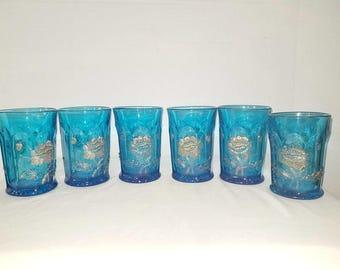 Antique Northwood Aqua Glassware,Oriental Poppy Glasses,Gold Gilt,Northwood Oriental Poppy, EAPG Tumblers,AquaGlass, Turquoise Glass,1910s