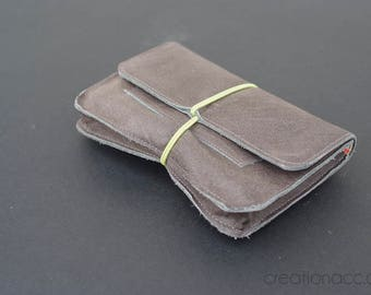 Grey leather tobacco pouch, tobacco pocket, tobacco case,  leather tobacco pouch, idea for women, idea for smoker