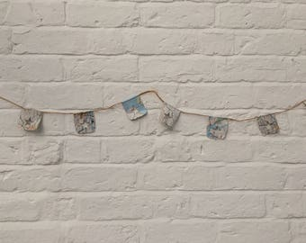 Travel/Map Bunting with cut out Stars