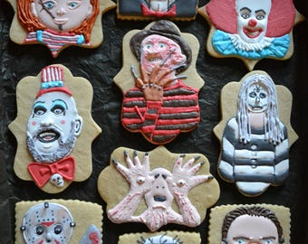 Horror Movie Monster Decorated Cookie Collection- 10 Horror Movie Character Decorated Sugar Cookies