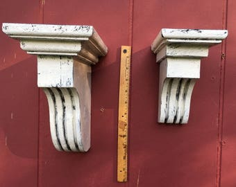 """Corbels Architectural small and medium distressed/7.25"""" tall 3.5"""" wide 5.5""""deep/9""""tall 5""""wide 7.5"""" deep/ wooden corbels/made to order"""