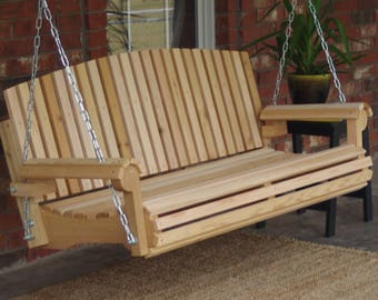 Brand New 5 Foot Cedar Wood Fan Back Porch Swing with Hanging Chain or Rope - Free Shipping