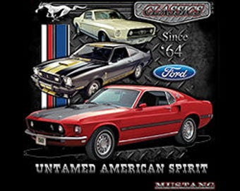 Cool Ford Mustang Untamed T Shirt | Classic Licensed T Shirts | Mens T