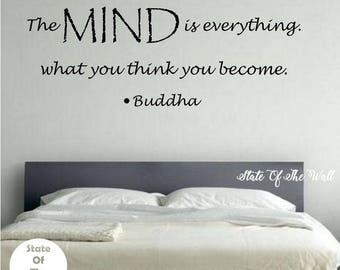 The Mind is Everything Buddha Quote Wall Decal Sticker Art Decor Bedroom Design Mural peace art