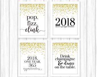 New Years Printable | Happy New Year | New Year Print | New Years Party | 2018 Printable | New Years Eve Party | New Year's Printable | NYE