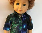 Galaxy print button down shirt with snaps 18 inch boy doll clothes