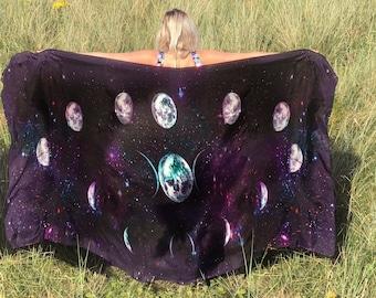 Silk Galaxy Scarf - Cosmic - Silk Scarf - Universe - Star Scarf - Moon Scarf - Festival Clothing - Bohemian Clothing - Sarong - Shawl