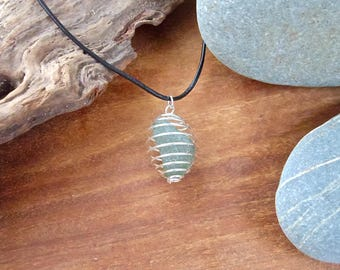 Seaglass Wire Necklace on Leather