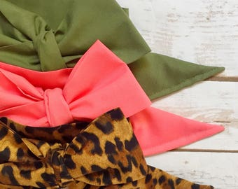 Gorgeous Wrap Trio (3 Gorgeous Wraps)- Olive, Coral & Lulu Leopard Gorgeous Wraps; headwraps; fabric head wraps; headbands