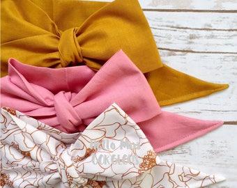 Gorgeous Wrap Trio (3 Gorgeous Wraps)-Golden, Vintage Pink & Golden Bloom Gorgeous Wraps; headwraps; fabric head wraps