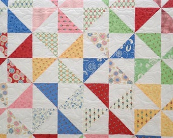 Handmade Patchwork Quilt, Traditional Quilt, Modern Quilt, Pinwheel Quilt, Single Bed Quilt, Baby Blanket, Baby Gift, Baby Shower Gift
