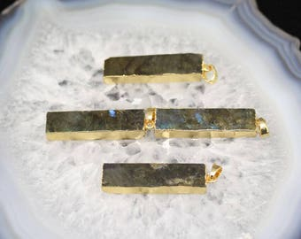3-10pcs Flash Rectangle Labradorite Pendants With Electroplated Gold Edge Charms Wholesale