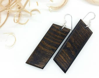 Dark Brown Earrings, Wooden Earrings, Brown Earrings, Larch Wood Earrings, Natural Earrings, Organic Jewelry, Natural Jewelry, Eco Jewelry