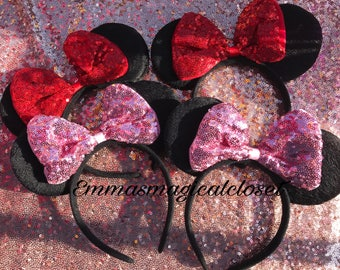 Minnie Mouse Ears- pink bow minnie mouse sparkle minnie mouse minnie ears disney ears