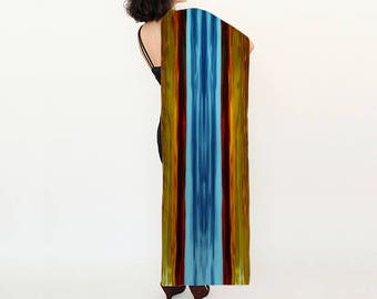 "Silk Scarf Long 16"" x 72"" Eco-Friendly Pigment Dye, Abstract Pattern, Original Design"