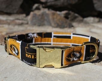 Mizzou Collar | Dog Collar | Male Dog Collar | Sports Team | Large Dog Collar | Gift for Pet Lovers | Fabric Dog Collar | College Team