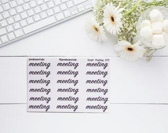 070 // Meeting Script Stickers for Erin Condren, Recollection, BuJo, Travelers' Notebook