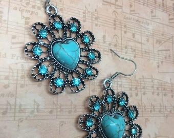 Magnesite Heart Earrings, Valentine's Day Earrings, Galentine's Day, Flower Earrings, Heart Earrings, (2 variations)