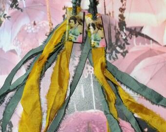"""Silk sari Ribbon and Pearl Earrings """"GEISHA"""" earrings"""